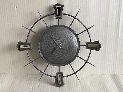 Vintage Smiths Wall Clock - Smiths Sectronic Movement - Metal 33cm Wheel