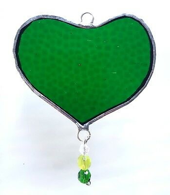 Green love Heart stained glass suncatcher Valentines mothers day gift