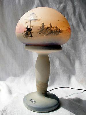 Antique Art Nouveau French Mushroom Lamp Pate De Verre Signed STANISLAS NANCY