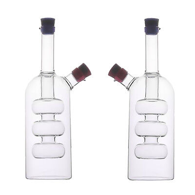 2Pcs Kitchen 2-Outlet Glass Oil Vinegar Dispensing Bottle Pot Sauce Cruet A