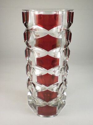 French Red Overlay Crystal Glass Vase