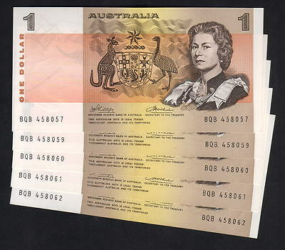 R-75. (1974) One Dollar - Phillips/Wheeler. AUSTRALIA. x 5 (4 Consec)  gEF-aUNC