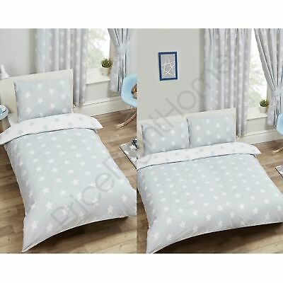 Grey & White Stars Range - Curtains, Junior, Single & Double Duvet Cover Set