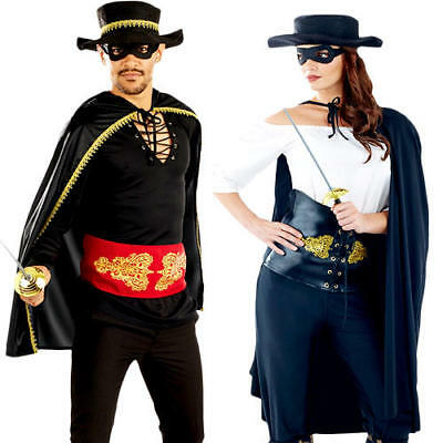 Mens Zorro Costume Hat M L XL Adult Mexican Masked Bandit Outlaw Fancy Dress