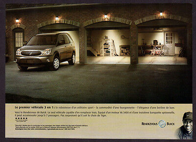 2003 BUICK Rendezvous Original Print AD - brown car photo, Tiger Woods, golf