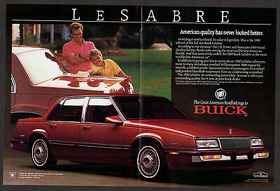 1989 BUICK LeSabre Vintage Original Print AD - centerfold red car photo, better