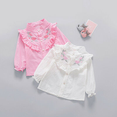 Girls Baby Infants Long Sleeve Embroidery Flower Ruffles Princess Shirts Blouse