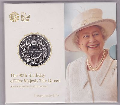Sealed 2016 Base Metal £5 Coin In Royal Mint Flatpack 90Th Birthday Of The Queen