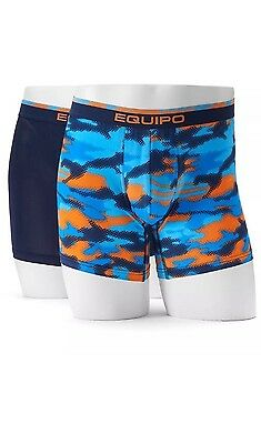 Men's New  Underwear EQUIPO Boxer  Briefs 2 Pack Blue Camo Large