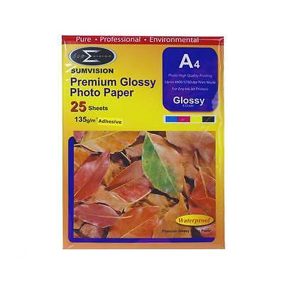 Sumvision 135gm Glossy A4 Adhesive Paper - 25 Sheet Pack
