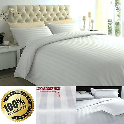 100% Luxury Satin Stripe Egyptian Cotton 300TC Duvet Cover Set Bold Stripes