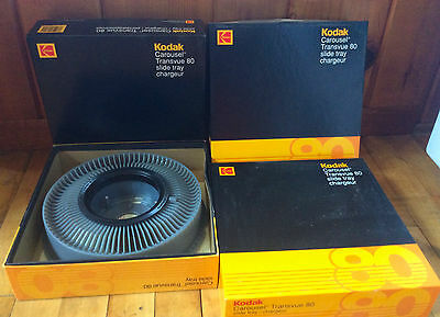 Lot of 4 - Kodak Carousel Transvue 80 Slide Trays with Boxes