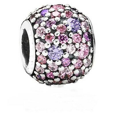 PINKS, PURPLE CRYSTAL PAVE ROUND MOSAIC 925 Sterling Silver European Charm Bead