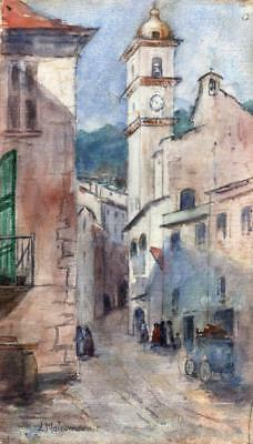 FRENCH STREET & CHURCH TOWER IMPRESSIONIST PAINTING Malcolmson c1890