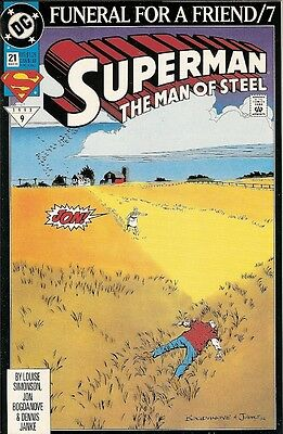 """Superman: Man Of Steel #21 (Dc) 1993 """"funeral For A Friend"""" Part 7"""