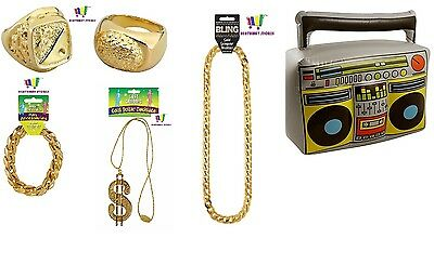 Chunky Gold Jewellery Gangster Fancy Dress Rapper 70S Pimp Mens Party Boom Box