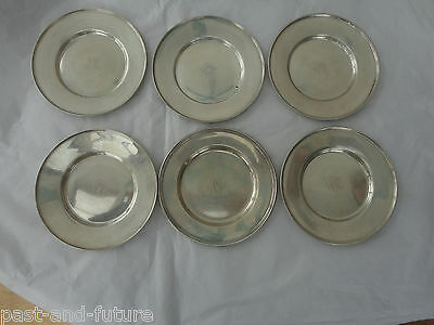 "Set Of 6 Sterling Bread Plates, 6 Inches Wide, Monongram ""jsc"