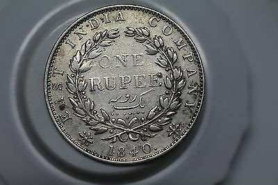 India 1 Rupee 1840 Scarce Nice Details Victoria A53 #z867