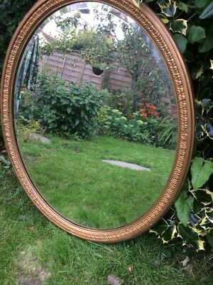 Antique Bevelled Oval Gilt Mirror Very Heavy