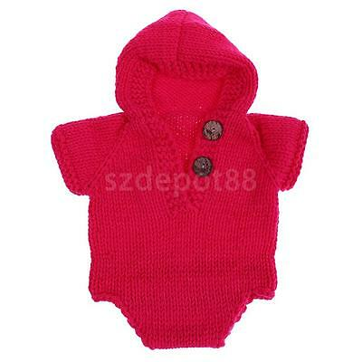 Newborn Baby Infant Knit Hooded Romper Jumpsuit Bodysuit Outfits Photo Prop Rose