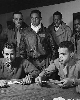 Tuskegee Airmen play cards Italy March 1945 - New 8x10 World War II Photo