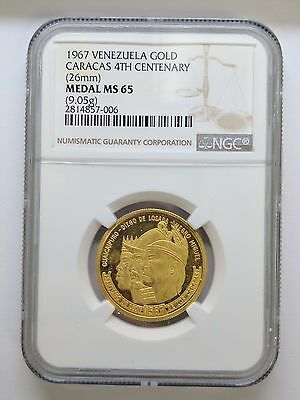 1967 Venezuela Gold Caracas 4th Centenary 26mm Gold Coin NGC Medal MS 65 - 9.05G