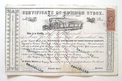 Milwaukee & Prairie Du Chien Railroad Stock Certificate 1865 R44