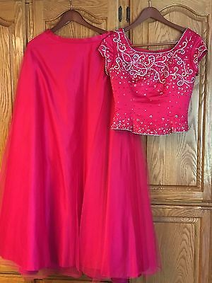 Women's Long 2 Piece Prom Party Dress Bridesmaid Cocktail Gown Hot Pink Size 10