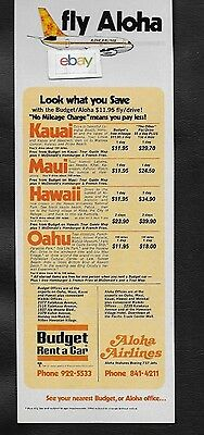 Aloha Airlines 737 Funbird Jets & Budget Rent A Car 1970's Ad