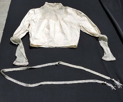 VICTORIAN WEDDING TOP w BEADING and LACE BEADED BELT w TASSELS