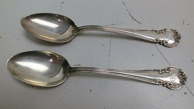 """#EE ANTIQUE Pair of Reed & Barton 925 Solid Sterling Silver Teaspoons 59g 5.625"""""""