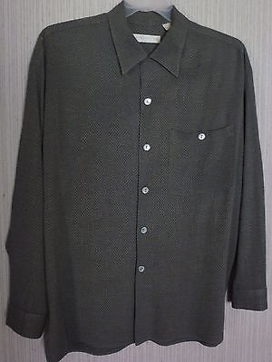 Direction Men's Dress Shirt Size M Medium Gray with Small Diamond design