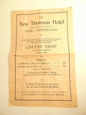 Vintage flier ad:  New Thomson Hotel, Kane, PA and Wolf Farm w/ wolf info on rev
