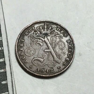 BELGIUM 1912 French legend 1 Cent coin circulated