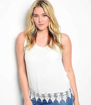 Size 3XL TANK TOP SHIRT Womens Plus WHITE Knit Lace Bottom HAVE NWT NEW