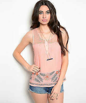 Size 2XL TANK TOP SHIRT Womens Plus PEACH Knit Lace FLORAL EMBROIDERY New