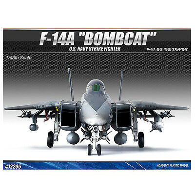 [Free Shipping] ACADEMY 1/48 F-14A BOMBCAT USN Strike Fighter Cart #12206
