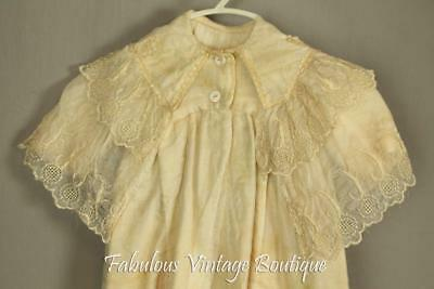 Antique Vtg Victorian Embroidered Silk Lace Baby Baptism Gown Christening Dress
