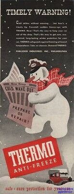 1945 Thermo AntiFreeze Snowman With Attendants Hat Publicker Ind Philadelphia Ad