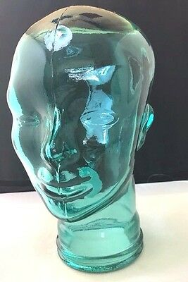 """NEW Glass Mannequin HEAD Life Size FACE 11.5"""" Blue/Green GLASS Hat Stand DISPLAY"""
