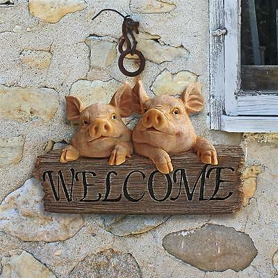Friendly Barnyard Piggy Welcome Sign Pig Garden Wall Sculpture
