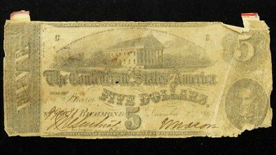 1862 Confederate States $5 Note T-53 CSA Civil War Currency