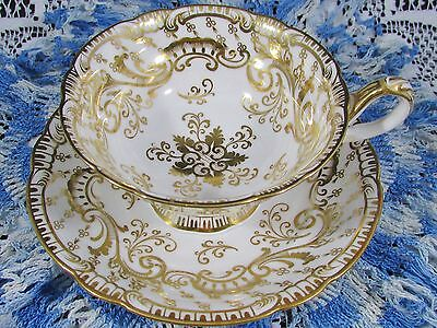 Antique Ridgway Embossed Lavish Gold Designs Tea Cup And Saucer