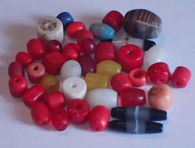 40 Antique old Glass Beads, 6.5-23mm, #A5831