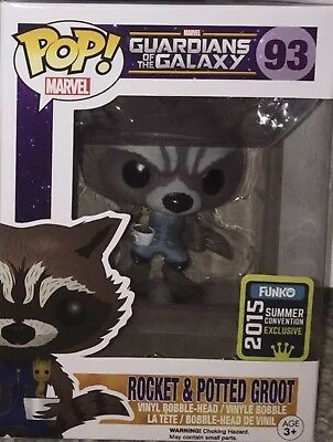 SDCC Funko 2015 Exclusive MARVEL GUARDIANS OF THE GALAXY ROCKET & POTTED GROOT