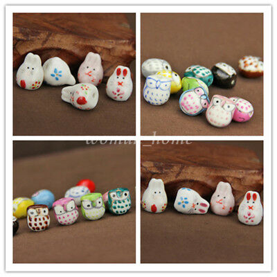 5pc Lucky Animal Rabbit / Owl Handcrafted Ceramic Loose Beads DIY Jewelry Making