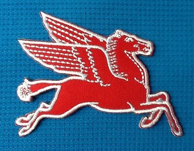 Red Pegasus Flying Horse Mobil Oil Gasoline Gas Sow Sew Iron On Patch Badge 1