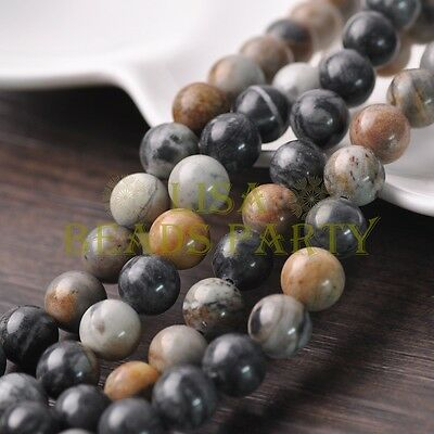 20pcs 10mm Round Natural Stone Loose Gemstone Beads Picasso Stone