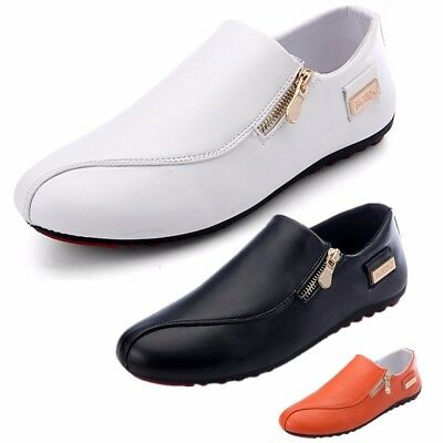 Men's Casual Shoes Slip on Loafers Zip Recreational Breathable Sneakers Leather