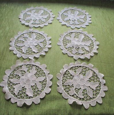 "6 VINTAGE MATS-NEEDLE LACE-SET of 6-SOFT ECRU-9"" UNUSED"
